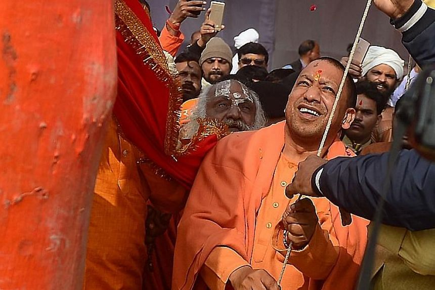 Uttar Pradesh Chief Minister Yogi Adityanath, who is a member of the Bharatiya Janata Party, says the tie-up between the Samajwadi Party and Bahujan Samaj Party is a result of their fear of the BJP.