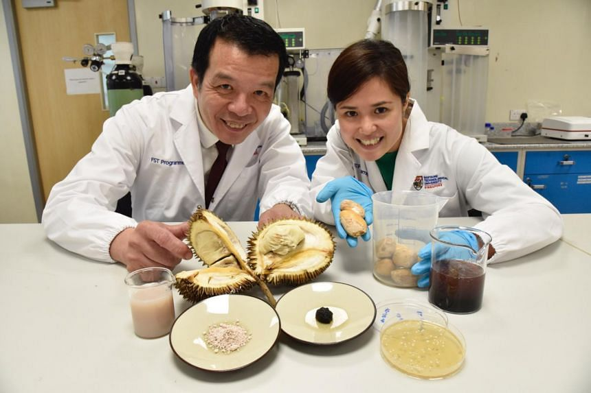Professor William Chen, director of NTU's Food Science and Technology Programme, and Dr Jaslyn Lee, research fellow in the programme. Prof Chen's team has turned what would otherwise be food waste into usable products.