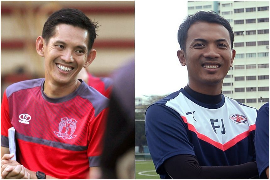 Former Hougang United head coach Philippe Aw (left) was named the head coach of the Under-15 team while former national striker Fadzuhasny Juraimi will lead the Under-18 team.