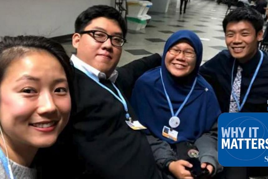 From left: ST environment correspondent and podcast host Audrey Tan with Eric Bea, a fourth-year NUS law student, Liyana Yamin from Malaysian climate NGO Malaysia Youth Delegation, and Garfield Kwan, PhD candidate in marine biology at the Scripps Ins