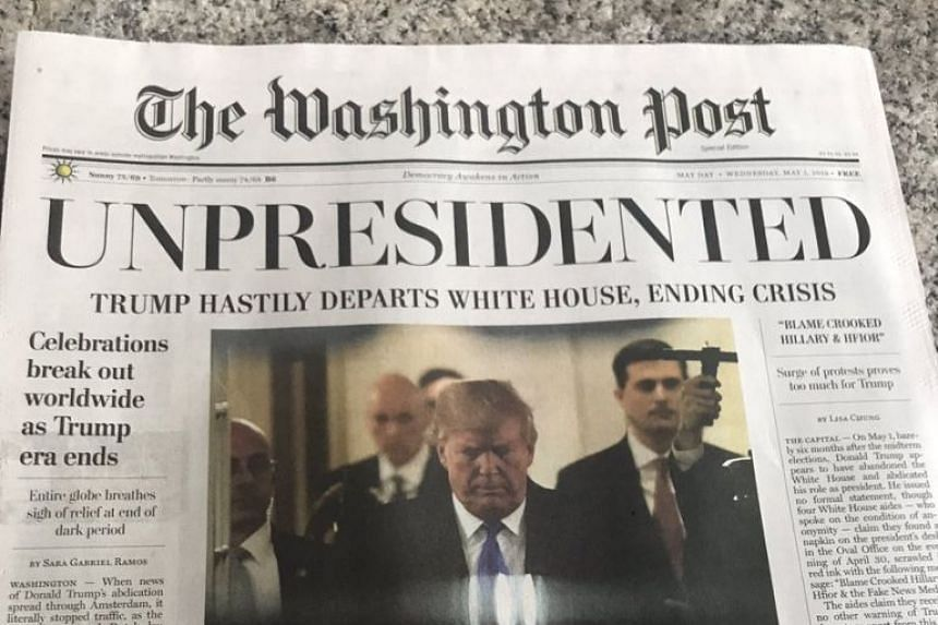 """Under the headline """"Unpresidented"""", the fake newspaper's lead story said Mr Trump had left a resignation message on a napkin in the Oval Office."""