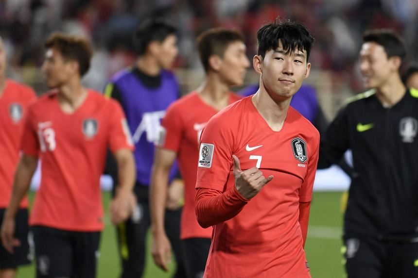 Son Heung-min reacts after South Korea defeated China.