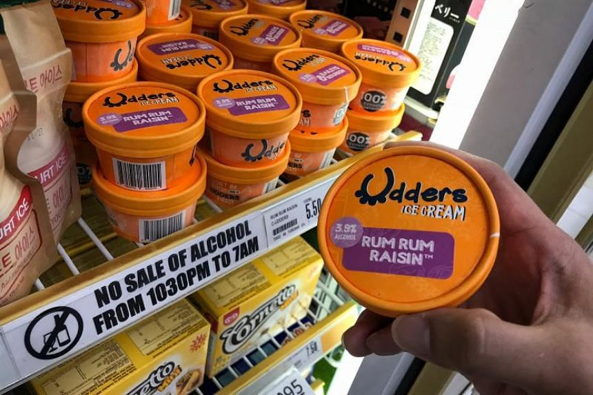 Udders ice cream containing alcohol at Esso petrol station's FairPrice Xpress on Oct 25, 2018. From Jan 18, sales of the product will no longer be restricted under the Liquor Control Act.