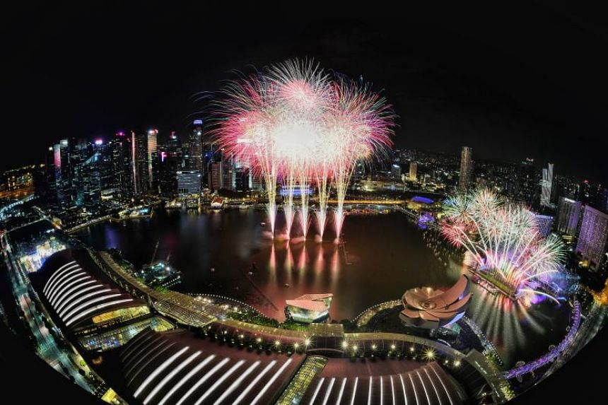 New Year's fireworks as seen from Marina Bay Sands Skypark. Marina Bay Sands was recognised by the judging panel as the most Instagrammed hotel in the world.