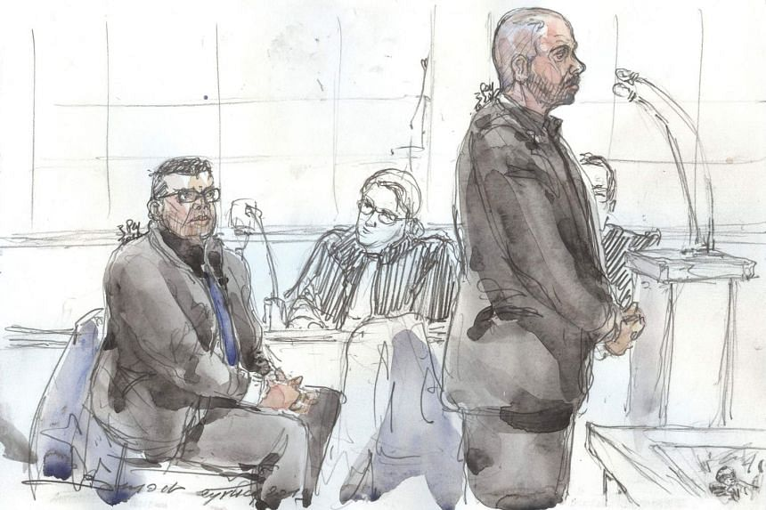 A court sketch shows accused police officers Antoine Q (left) and Nicolas R.