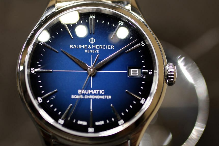 A Clifton Baumatic watch sits on display at the Baume & Mercier SA stand during the Salon International de la Haute Horlogerie in Geneva, Switzerland, on Jan 15, 2019.
