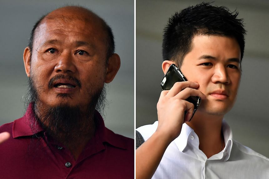 Lorry driver Teo Seng Tiong (left) is accused of causing hurt to cyclist Eric Cheung Hoyu (right), who also faces charges.