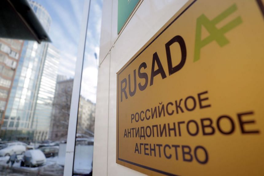 A sign on the building which houses the Russian Anti-Doping Agency, Rusada, in Moscow.