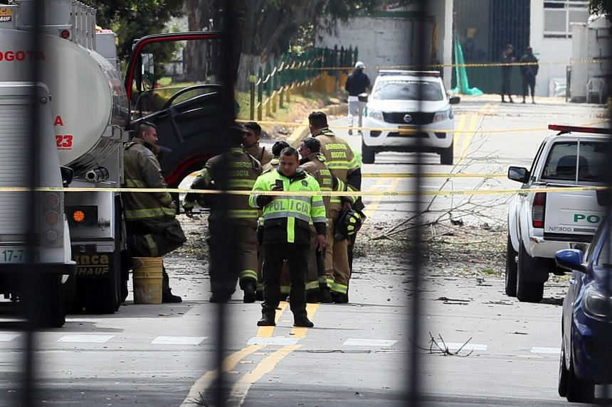 A general view of the place where a bomb car caused an explosion at the Santander General Police School in Bogota.