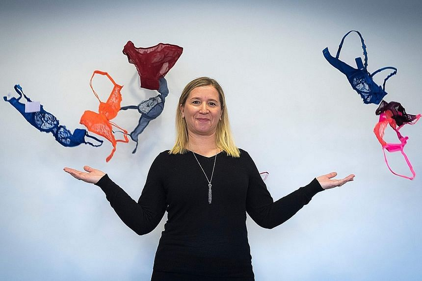 Ms Anne-Marie Afflard, Simone Perele's head of technical development, during a photo session at the Simone Perele headquarters in Clichy outside Paris last month. The brand has been showing its creations in still life.