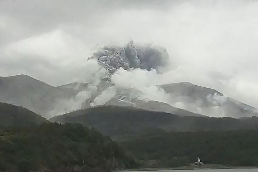 An image from the Japan Meteorological Agency's live webcam showing an eruption on Kuchinoerabu Island in Kagoshima prefecture. A local official said there were no evacuations on the island, which is home to just 109 people.
