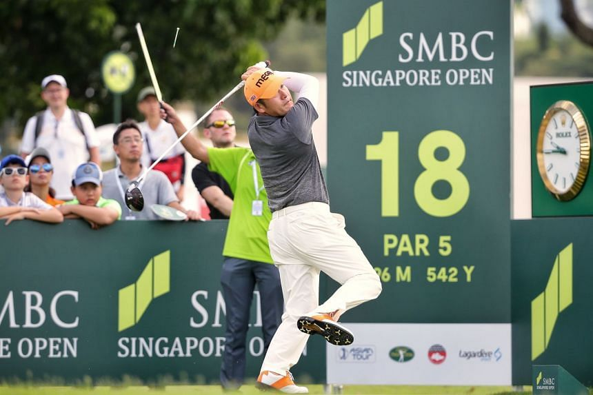 Choi Ho-sung of Korea teeing off on hole 18 during the first round of the SMBC Singapore Open at the Serapong Course in Sentosa on Jan 17, 2019.