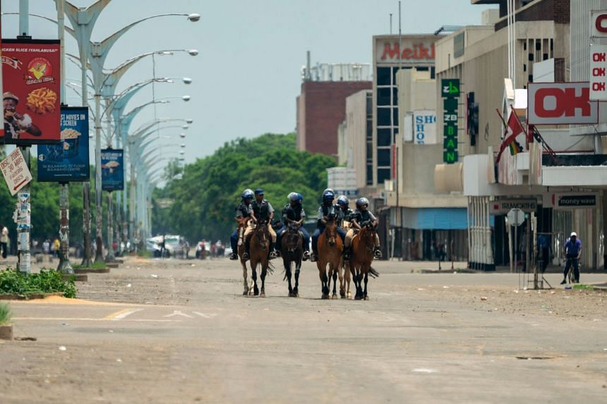 Mounted police on patrol following violent protests in the country triggered by a sharp, sudden rise in fuel prices in Bulawayo, Zimbabwe, on Jan 16, 2019.