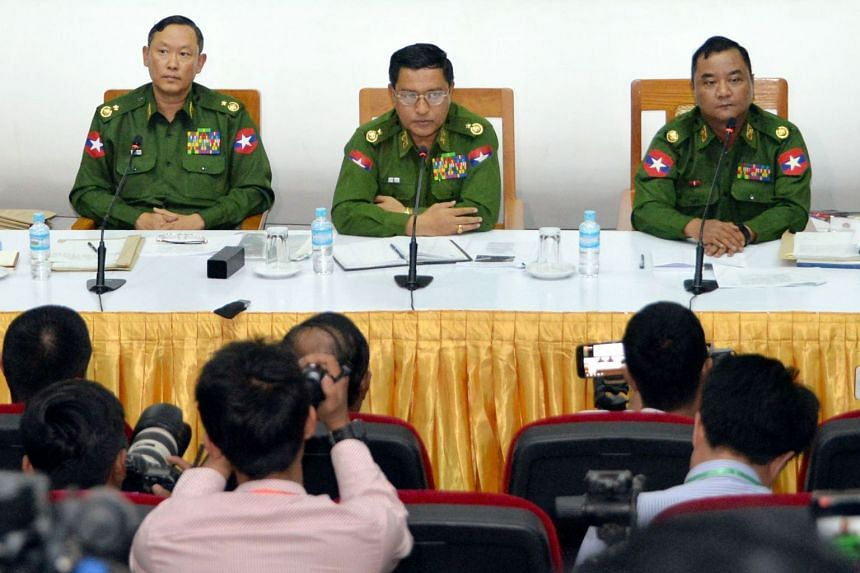 (From left) Myanmar Army top officials Major General Tun Tun Nyi , Major General Soe Naing Oo and Major General Zaw Min Tun attend a rare military press conference at the Defence Service Museum in Naypyidaw, Myanmar, on Jan 18, 2019.