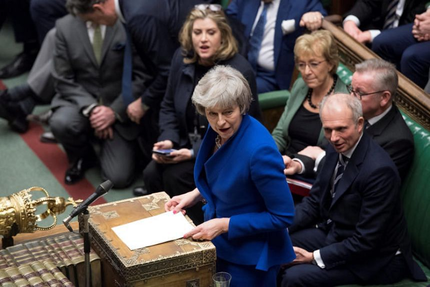 British Prime Minister Theresa May speaks during a confidence vote debate after Parliament rejected her Brexit deal, in London, Britain on Jan 16, 2019.