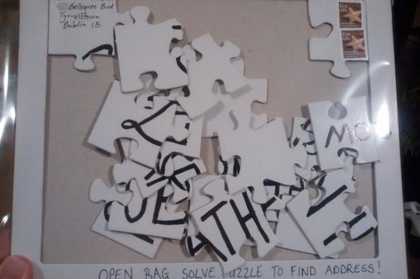 Ireland's postal service staff had to solve this jigsaw puzzle to get the address on mail sent by blogger David Curran.