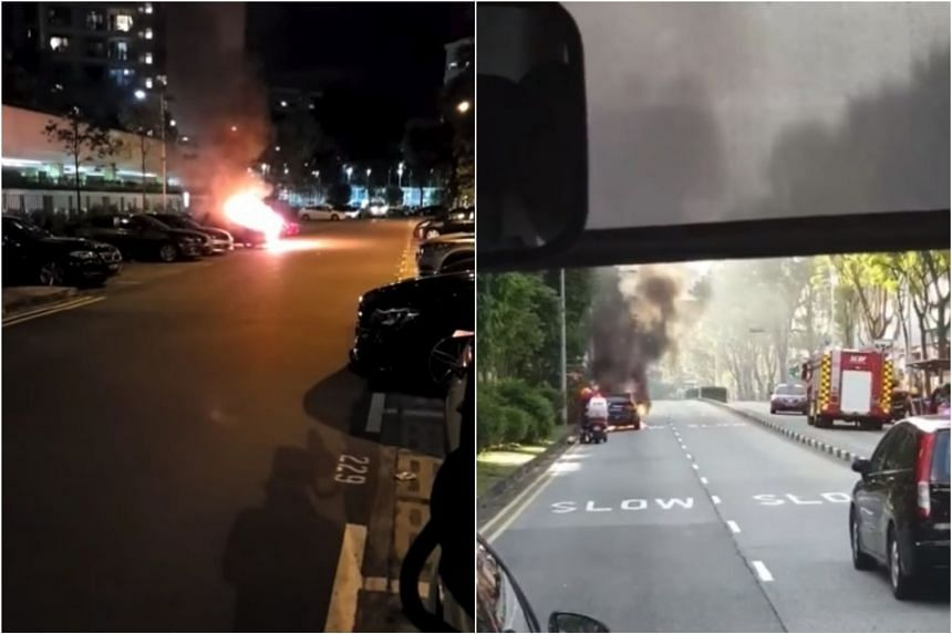 Two cars caught fire in separate incidents in Yishun Avenue 9 (left) and Bukit Batok West Avenue 5.