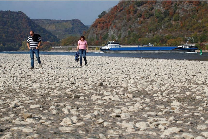 A couple walks through the dried out river bed of the Rhine, as water levels reached a historic low level and freight vessels cannot sail fully loaded on Europe's most important waterways, near Bacharach, Germany on Oct 19, 2018.