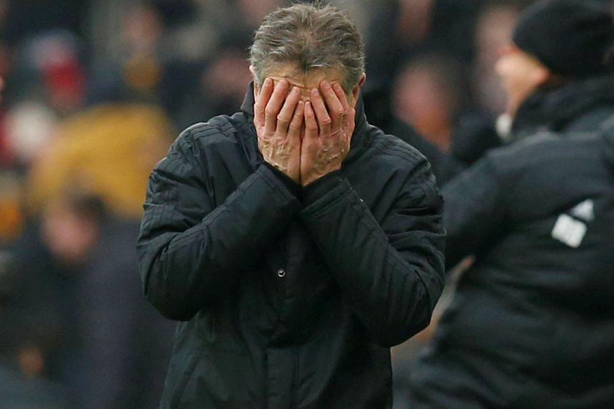 Puel reacts after Wolves' Diogo Jota (not pictured) scored their fourth goal.