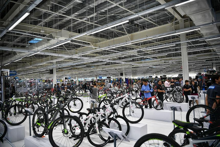 Bicycles for sale at the Decathlon Singapore Lab in Stadium Boulevard. The store, which opens today, has 5,000 sq m of retail space and an indoor zone with four different surfaces to test running shoes.