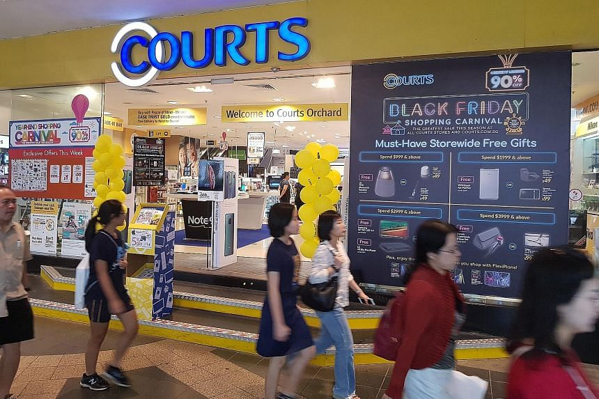 Courts posted a net loss of $3.1 million for its fiscal second quarter, sinking into the red from a net profit of $1.5 million for the same period a year earlier.