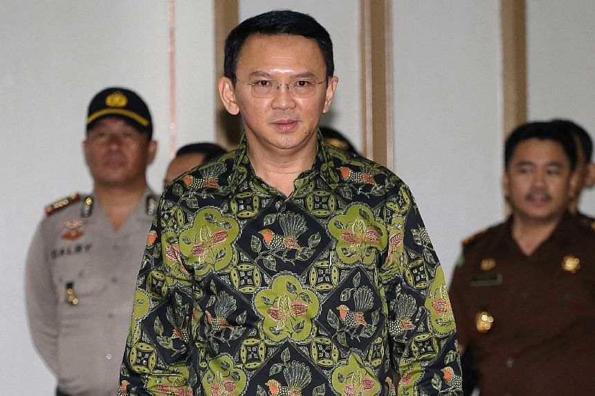 """Basuki Tjahaja Purnama, also known as Ahok, seen here arriving in court in April 2017. He was sentenced to jail for blasphemy. In the letter posted on social media, he said his time in prison had allowed him """"to learn to take full control of myself f"""