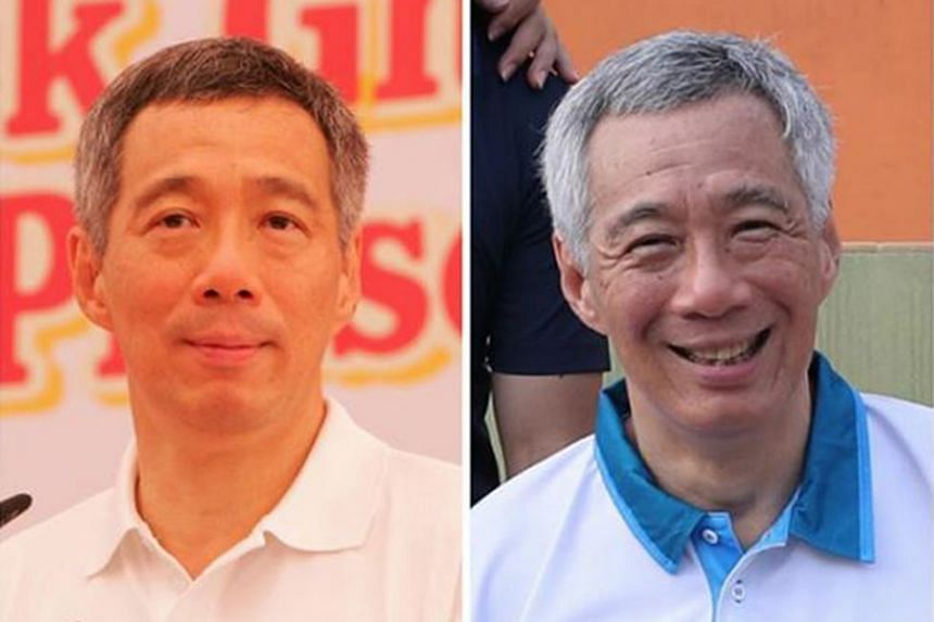Prime Minister Lee Hsien Loong 10 years ago (left) and today (right).