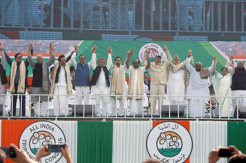 Leaders of India's main opposition parties at the United India rally in Kolkata on Jan 19, 2019. The parties said they forged a common front to stop Prime Minister Narendra Modi's Bharatiya Janata Party.