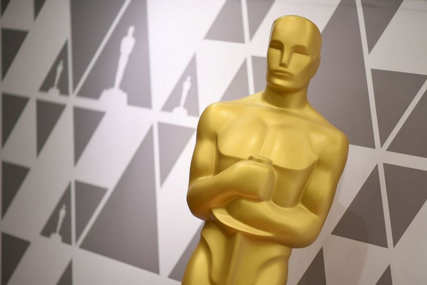 An Oscar statue stands during preparations in 2018 for the 90th annual Academy Awards.