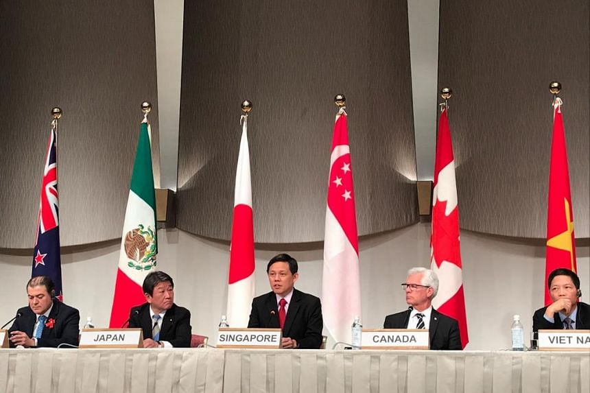 (from left) New Zealand Trade Minister David Parker; Japanese Economic Revitalisation Minister Toshimitsu Motegi; Singapore Trade and Industry Minister Chan Chun Sing; Canada Minister of International Trade Diversification Jim Carr; Vietnam Minister