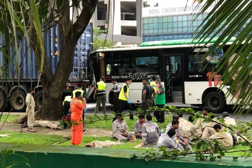 The 13 bus passengers were taken to Ng Teng Fong General Hospital and the National University Hospital.