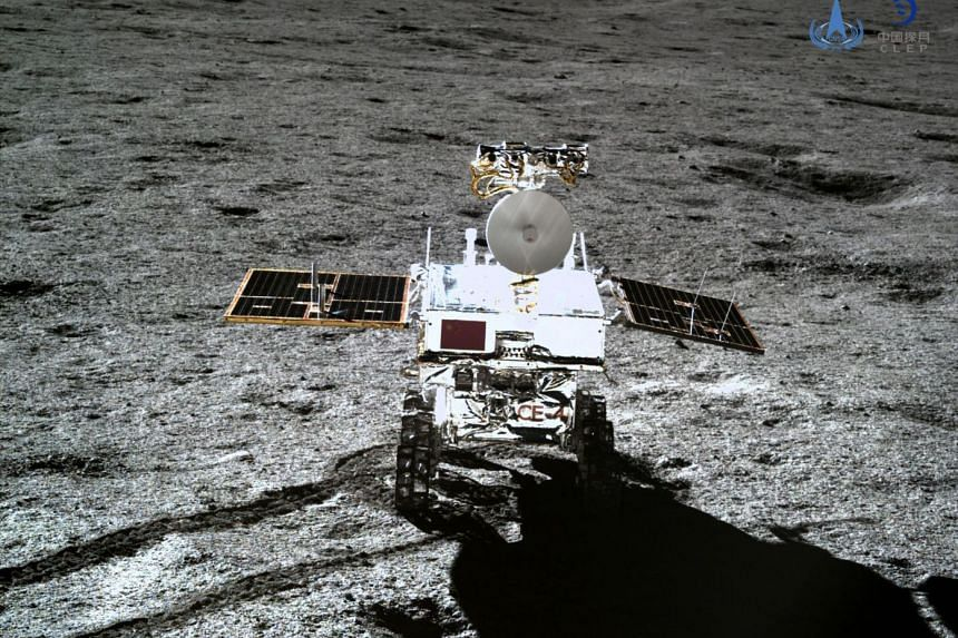 The Yutu-2 moon rover, taken by the Chang'e-4 lunar probe on the far side of the moon.