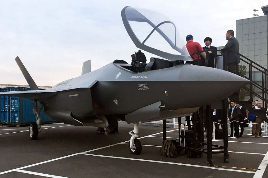 File photo of a real-size mock of F-35 fighter jet is displayed at Japan International Aerospace Exhibition in Tokyo, Japan, on Nov 28, 2018.
