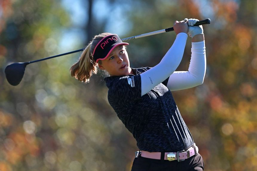 Brooke Henderson of Canada hits her tee shot on the seventh hole during the second round.