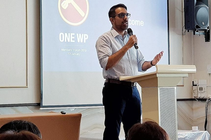 Workers' Party secretary-general Pritam Singh speaking at the WP members' forum last Sunday, where he laid out the goal for the party to contest and win one-third of the seats in Parliament in the medium term.