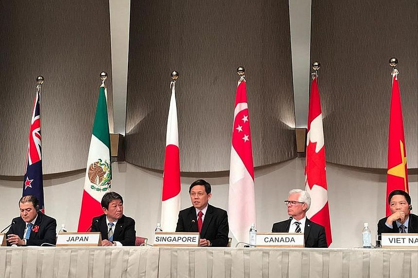 Singapore Trade and Industry Minister Chan Chun Sing urged members to grow the CPTPP In his speech at the meeting, which was also attended by other trade ministers such as (from left) Mr David Parker of New Zealand, Mr Toshimitsu Motegi of Japan, Can