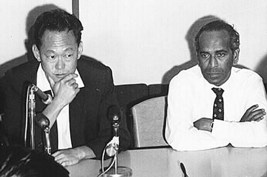 Mr Lee Kuan Yew and Mr Rajaratnam in 1966. The two were among the pioneer leaders who made Singapore the most successful small nation since human history began, says the writer. He adds that one of Mr Rajaratnam's greatest gifts to Singapore is the c