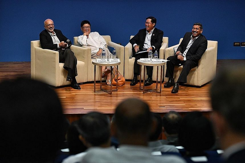 Temasek CEO Ho Ching, who gave the keynote address, urged businesses to take urgent action to combat climate change and its impact. (From left) DBS Group CEO Piyush Gupta, National Council of Social Service president Anita Fam, Singapore Pools CEO Se