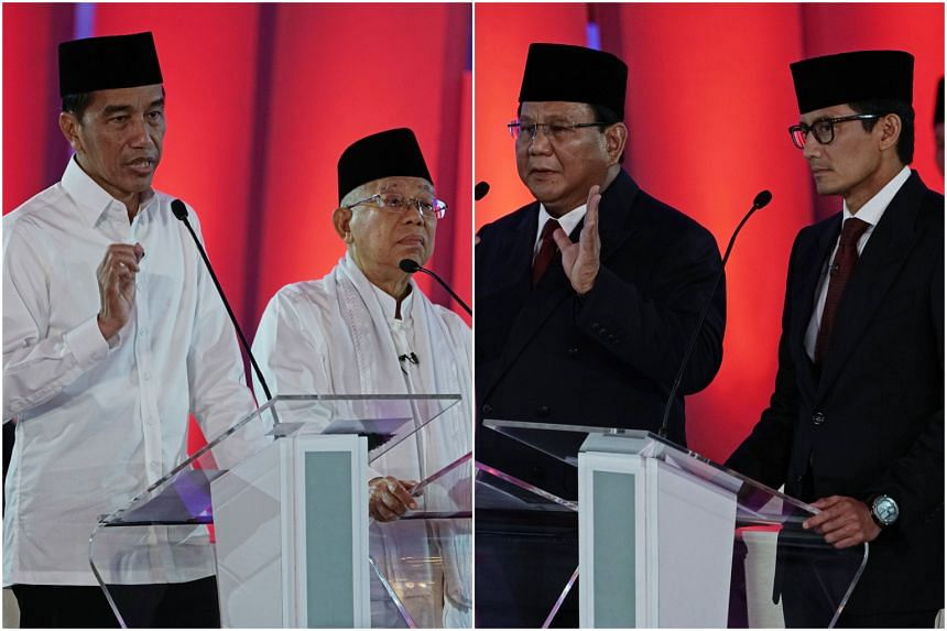 Indonesian president Joko Widodo (left) with vice-presidential candidate Ma'ruf Amin (second, left); and presidential candidate Prabowo Subianto (second, right) with vice-presidential candidate Sandiaga Uno (right) during the first presidential debat