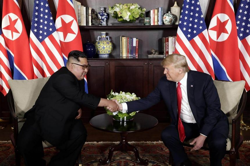 North Korean leader Kim Jong Un and US President Donald Trump during a summit in Sentosa Island, Singapore, on June 12, 2018.