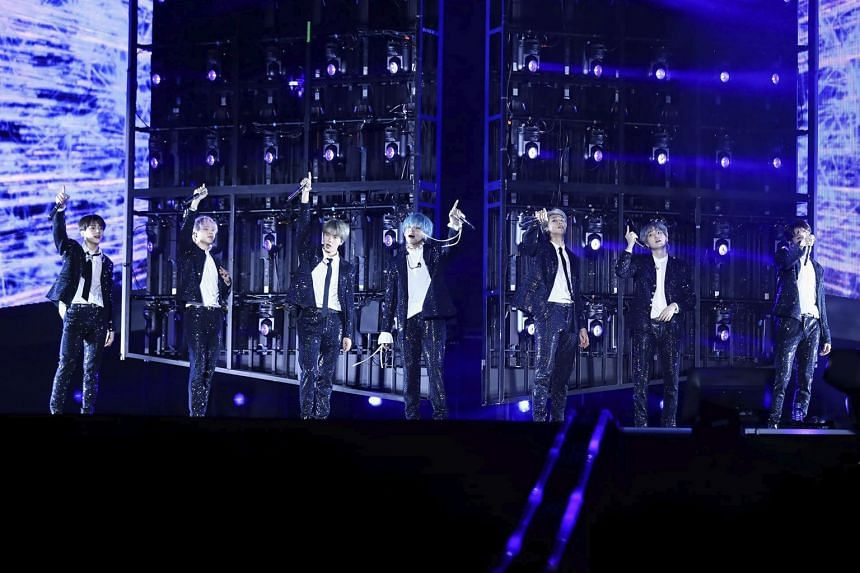 South Korean boyband BTS members (from left) Jungkook, Jimin, Jin, V, RM, Suga and J-Hope opening their sold-out National Stadium show on Jan 19, 2019.