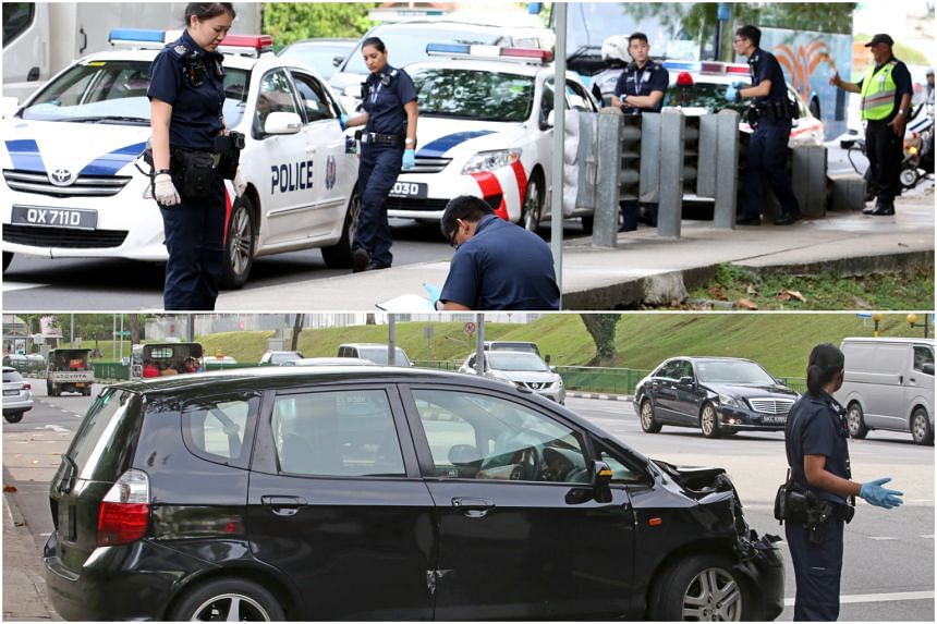 Top: Police at the scene after the accident, which led to two men being arrested for suspected drug-related offences. Bottom: The car which eyewitnesses say was driven by one of the suspects.