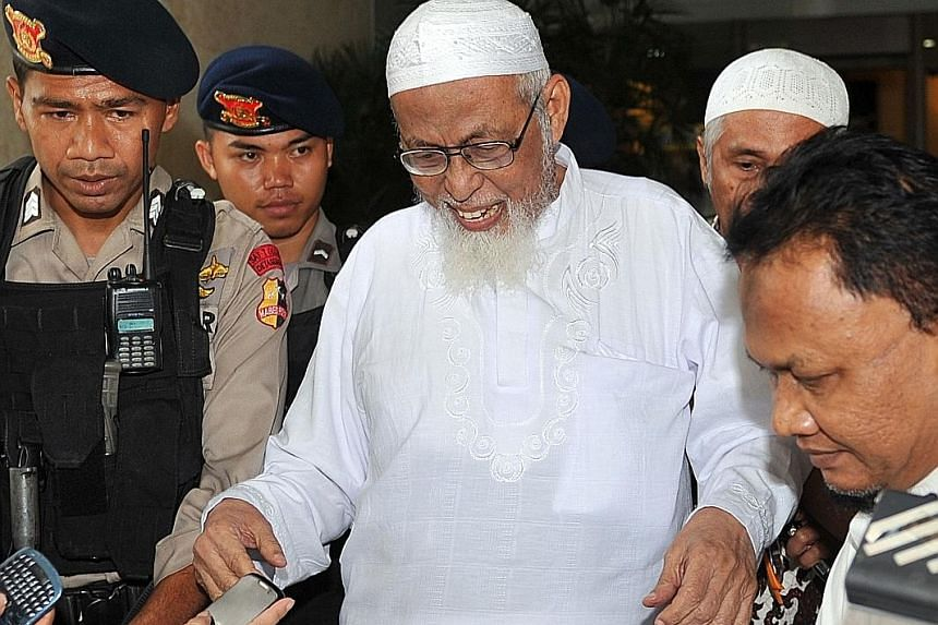 A 2012 file picture of Abu Bakar Bashir, widely regarded as the spiritual leader of terrorist group Jemaah Islamiah, which was behind the 2002 Bali bombings that killed 202 people, 80 per cent of them foreigners.