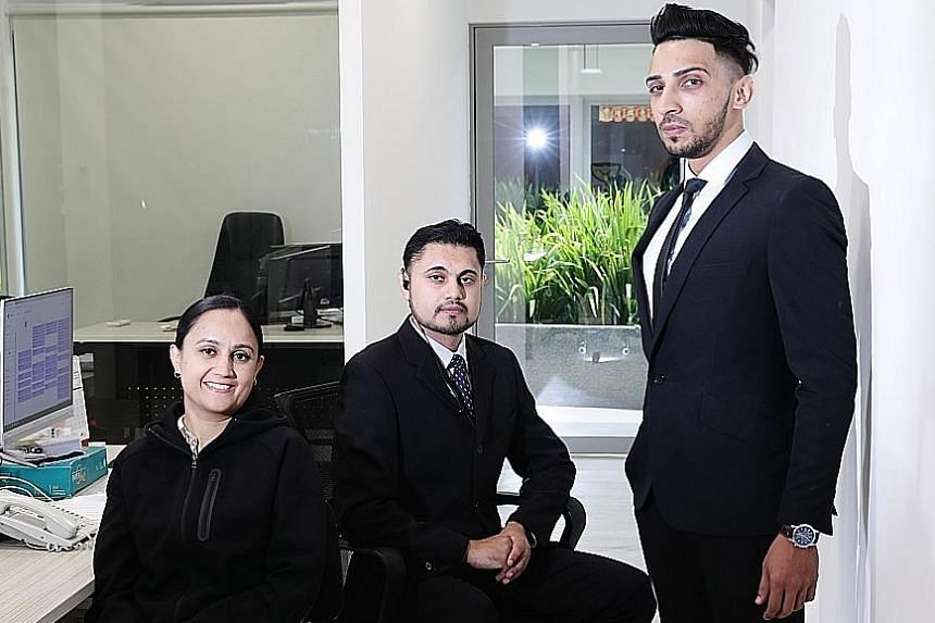 Mr Tejdeep Singh (centre), managing director of Deep Security Services, with Ms Manjit Kaur (director) and Mr Tarandeep Singh (operations). The firm has covered six weddings since 2017.