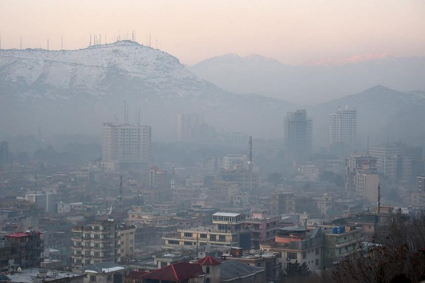 A view of residential areas amid heavy smog conditions in Afghanistan's capital Kabul.