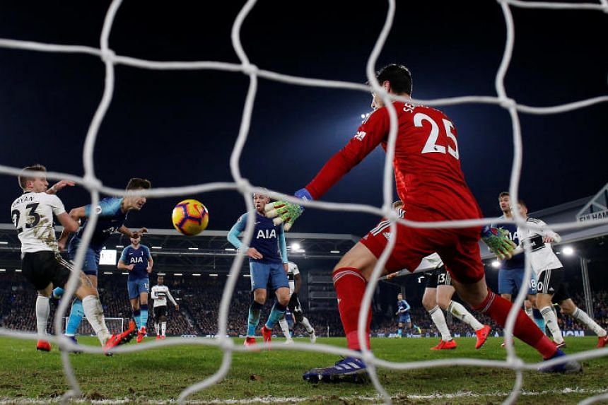 Tottenham's Harry Winks scores their second goal at Craven Cottage, London, Britain, on Jan 20, 2019.