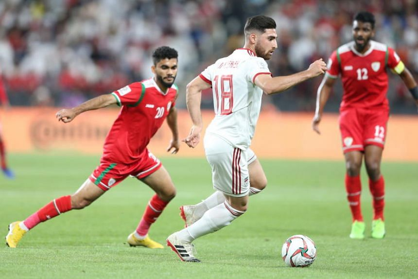 Alireza Jahanbakhsh of Iran (centre) in action during the 2019 AFC Asian Cup round of 16 soccer match between Iran and Oman in Abu Dhabi, United Arab Emirates, on Jan 20, 2019.