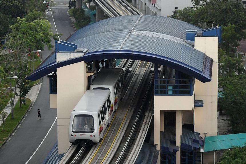 File photo showing an LRT train at Fajar LRT Station in Bukit Panjang, on March 24, 2017.
