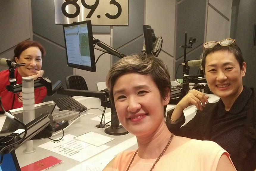 From left: Appearing in this Money FM podcast about Singapore Art Week with host Claressa Monteiro are Emi Eu, executive director, STPI, and Natalie Tan, assistant director, Gillman.