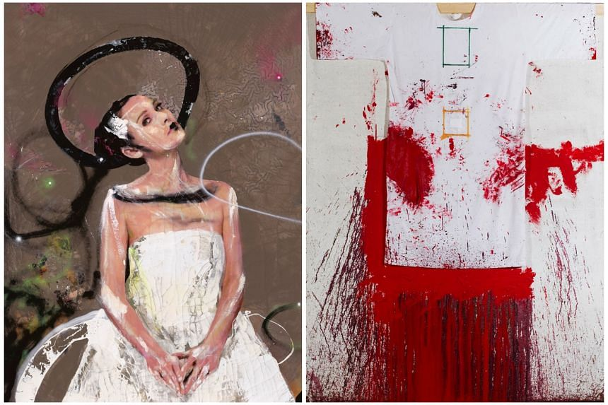 An acrylic on jute work by Austrian artist Hermann Nitsch (left), titled Schuttbild (2009). Artwork by Spanish artist Lita Cabellut (right), which Opera Gallery is displaying at its gallery in Ion Orchard.